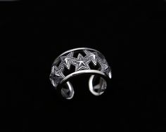 S925 sterling silver jewelry retro Thai silver hollow ring personalized five-pointed star opening ring [FP024] - $53.00 : Thailand Silver Jewelry- Silver Jewerly Gift Store Jewelry from Thailand