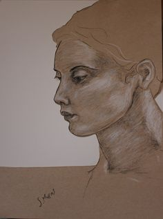 Face in Near-profile, Sarah Myers.  Charcoal, conte, pencil and cut paper.