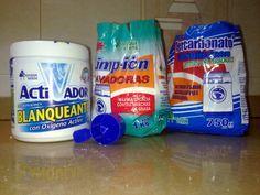 DETERGENTE PARA LAVADORA:   1 Pastilla de Jabón tipo Lagarto (ó 250 gr. de jabón en escamas, jabón casero, etc... ),1 Cuch de Sal Común  2 Medida de Activador Lavadoras (viene con su propio dosificador, el cual usaremos para el resto de los ingredientes)  2 Medida de Perborato Sódico o Percarbonato Sódico  2 Medida de Limp-ión Lavadoras  2 Tapones de Suavizante (a gusto de cada uno,para añadir perfume al jabón),8 a 10 Litros de Agua (a gusto de cada uno, según lo espeso que guste)