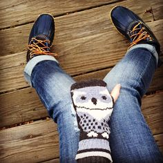 Made in the USA women's recycled cotton owl hand warmers and L.L. Bean boots.