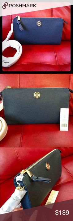 💕Tory Burch Cameron easy wallet crossbody Brand new with tag in Tory Navy colour(kind of black).           Can be used as a clutch or crossbody Tory Burch Bags Crossbody Bags