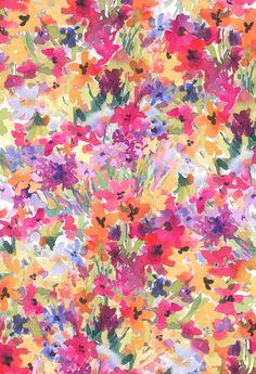 Multi Field Flowers Original Textile / Pattern Design by Pamela Gatens www.pamelagatens.com