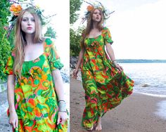 60s Vintage Maxi Dress HAWAIIAN Psychedelic Print SUNDRESS Woman Size Small Summer Beach Wedding SWEETHEART Short Sleeves Neon Tropical Gown by HarlowGirls on Etsy