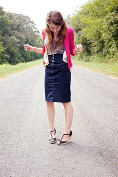 dressed up denim skirt