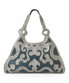 ba4113e24c1b Leaders in Leather Silver   Metallic Blue Scroll Cutout Leather Hobo