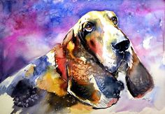 Buy Cute basset hound - perfect gift idea, Watercolour by Kovács Anna Brigitta on Artfinder. Discover thousands of other original paintings, prints, sculptures and photography from independent artists.