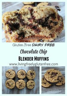 Gluten Free, Dairy Free, Soy Free, Corn Free and delicious, easy, fool-proof Chocolate Chip Blender Muffins. Minimal effort for a delicious healthy muffin. www.livingfreelyglutenfree.com