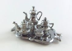 Dolls House Miniature Dining Room Accessory Silver Tea Coffee Set & Tray | eBay