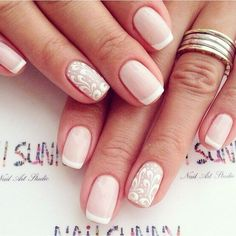 French Manicure Gel Art Tutorials Ideas For 2019 French Manicure Gel, French Nails, Glitter Manicure, French Manicures, Sun Nails, Hair And Nails, Natural Nail Designs, Natural Nails, Wedding Nails