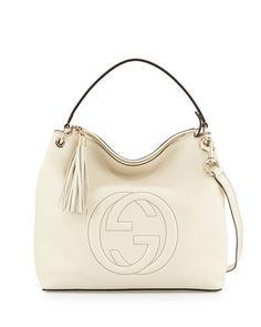 V2XG5 Gucci Soho Large Leather Hobo Bag, Mystic White