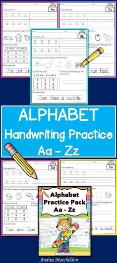 These Alphabet Handwriting Sheets are great for Preschoolers, Kindergarten, and/or First Graders.  Students will practice tracing, writing, and coloring.  Each sheet is set up the same so they are easy to follow!