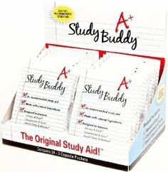 Study Buddy | #1 Dr Recommended Study Aid | Enhance Memory & Recall, Concentration & Focus, Mental Clarity & Alertness | 24 Servings by Study Buddy. $39.00. Works in minutes!. Manufactured in a State of the Art cGMP Facility - Safe, Healthy, Effective!. Made with Natural Ingredients and DHA, Huperzine, Vinpocetine, Gingko and Phosphatidylserine. #1 Doctor Recommended Study Aid. Designed to Improve: Enhanced Memory & Recall, Concentration & Focus, Mental Clarity & Alertn...