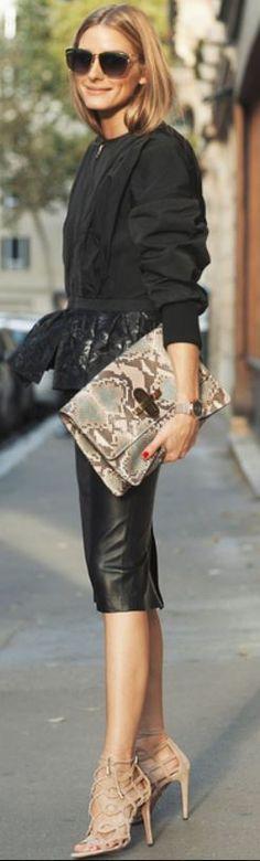 Who made Olivia Palermo's black peplum jacket, tan snake print clutch handbag, and nude lace sandals