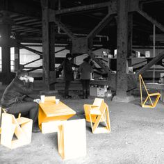Pop-out furniture at Pop-up Cafe under the Pike street overpass.