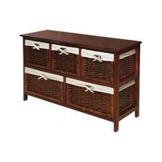 Wicker Chest 5 Basket Drawer storage Cabinet Bedroom Furniture new room home