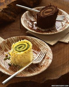 Offer slice of roulade as an alternative to wedding cake. Yellow sponge cake is rolled with pistachio mousse, iced with whipped cream, and covered in white chocolate bark.