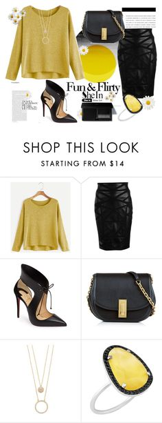 """""""• Fun & Flirty In Yellow •"""" by fashion-fields-forever ❤ liked on Polyvore featuring Versace, Christian Louboutin, Marc Jacobs, Kate Spade and Christina Debs"""