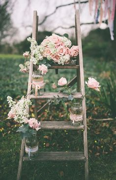rose pink rustic Step Ladder Wedding Decor Ideas