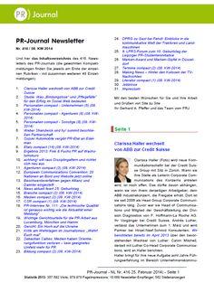 Startseite von Pfeffers PR-Newsletter Nr. 416 des PR-Journals (25. Februar 2014) - Stichworte: Edelman für Suzuki; Fink & Fuchs wächst; Neuausrichtung bei achtung!; Studie: Erfolgreich im Social Web; Appell an Journalisten: Wehrt euch!; Interview zu Radio-PR
