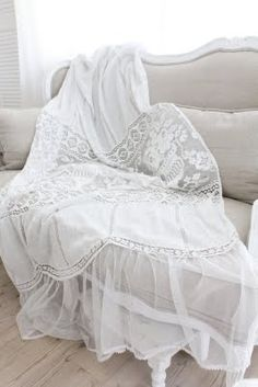 Shabby Chic, Sheer petticoat drop drape, so gorgeous Want these drapes for my bedroom at the lake