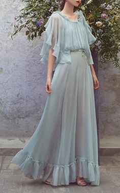 Chiffon Ruffle Full Length Dress by LUISA BECCARIA for Preorder on Moda Operandi