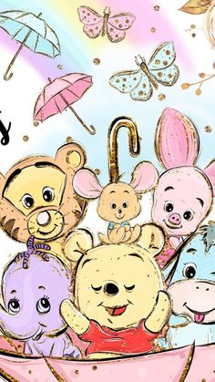 Winnie the pooh. winnie the pooh disney phone wallpaper Cute Cartoon Wallpapers, Cute Wallpaper Backgrounds, Wallpaper Iphone Cute, Iphone Backgrounds, Black Wallpaper, Iphone Wallpapers, Art Disney, Disney Kunst, Cute Disney Drawings