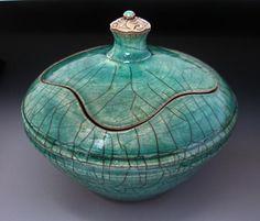 Covered Pot by Rick Loewenkamp - Raku, Turquoise, Sterling Silver