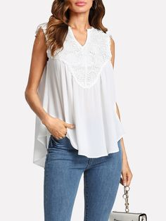 Guipure Lace Applique Curved Flowy Top -SheIn(Sheinside)