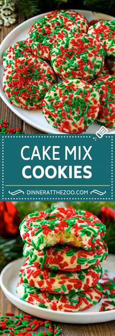 dinneratthezoo christmas sprinkles sprinkle cookies dessert recipe baking cake mix Cake Mix Cookies Recipe Sprinkle Cookies Christmas CookiesYou can find Easy christmas cookies and more on our website Cake Mix Cookie Recipes, Easy Cheesecake Recipes, Cake Mix Cookies, Cookies Et Biscuits, Cake Mixes, Santa Cookies, Vegan Cookie Recipe, Cake Mix Brownies, Cake Mix Bars