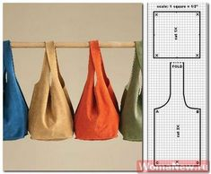 -Not really sure how to interpretate the pattern.The top square is probably the bottom but the piece that should be the sidepannel looks somewhat small?Make Your Own Leather Soho Slouch ToteI really can't call this a Fabulous Free Pattern Friday piec Bag Patterns To Sew, Sewing Patterns Free, Free Pattern, Make Do And Mend, Couture Sewing, Fabric Bags, Handmade Bags, Small Bags, Purses And Bags