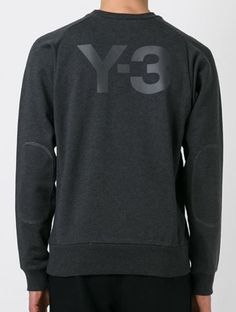 Y-3. Crew sweat - large rubber print at back and elbow patches