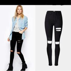 Holes High Waist Slim Beggar Elastic Plus Size Jeans