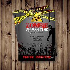 zombie birthday invitation printable, digital zombie apocolypse, Party invitations