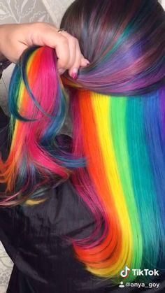 Hidden Rainbow Hair - Lilly is Love Exotic Hair Color, Hair Color Purple, Hair Dye Colors, Cool Hair Color, Amazing Hair Color, Hidden Rainbow Hair, Ombre Hair Rainbow, Rainbow Hair Colors, Rainbow Hair Highlights