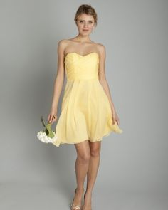 Short Yellow Bridesmaid Dress