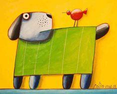 Cachorro verde com pássaro vermelho fundo amarelo