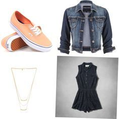 Fashion Teen spring outfit orange vans, jean jacket, with a gold necklace and a navy romper.