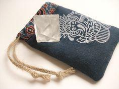 Handmade, hand printed  Ganesh crystal / mala pouch in gorgeous indigo linen by Ganesha's Rat.