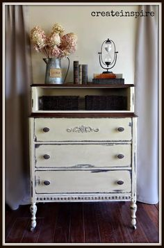 {createinspire}: Antique Chest of Drawers in Parchment [[[Could remove the drawers from just the top part of the double stacked blue dresser. Furniture Projects, Furniture Makeover, Bedroom Furniture, Home Furniture, Diy Projects, Reclaimed Furniture, Repurposed Furniture, White Painted Furniture, Painted Dressers