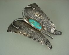 BEST LARGE OLD NAVAJO STAMPED SILVER & TURQUOISE BUTTERFLY PIN w/ Arrowheads