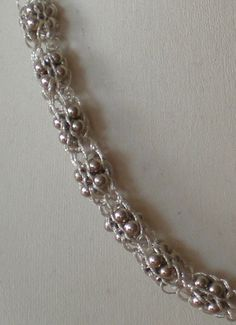 Thread French Knitted Necklace with Silver Clustered Beads close up
