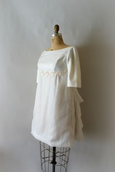 1960s Vintage Short Wedding Dress with Ruffle Train from Sweet Bee Finds