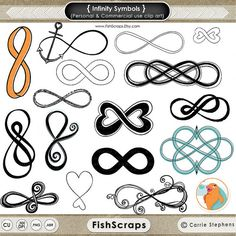 Infinity Symbol Clip Art - Silhouette - Png & Photoshop Brushes - Anchor ClipArt -  Digital Stamps - DIY Wedding Invitations