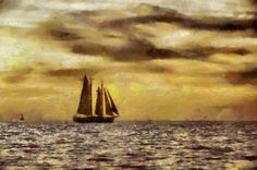 Painting of sailing boat against a golden sunset.
