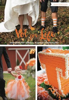 Knoxville wedding inspiration with University of Tennessee Volunteers theme in orange and white, photographed by Shanell Bledsoe Photography | The Pink Bride® www.thepinkbride.com
