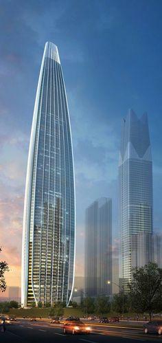 Guangxi Sede del Banco de la Bahía de Beibu, Nanning, China. 75 pisos, 402m de altura.