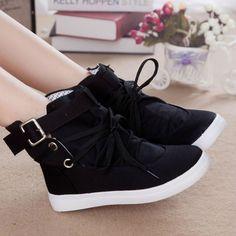 Cheap Otoño Lacing tobillo de mujer moda zapatos de lona de algodón ocasional hebilla mujeres zapatillas venta al por mayor botas femininas, Compro Calidad Botas directamente de los surtidores de China: