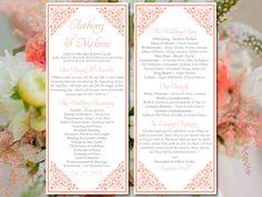 "Printable Wedding Program Template - Coral Wedding Program ""Madison"" Ceremony Program Instant Download - DIY Wedding Template by PaintTheDayDesigns on Etsy"