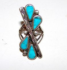 Old Pawn Zuni Sterling Silver Sleeping Beauty Mine Turquoise Statement Ring Size 6