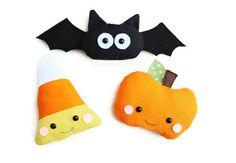 Halloween Sewing Pattern Toy PDF Sewing Pattern Set of Three Kawaii Pumpkin, Bat and Candy Corn